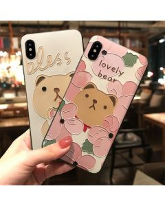 Cute bear embossed foundation silicone protective case for iphone, customized cartoon mobile phone case