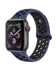 Apple watch strap, rainbow two-color silicone porous watch strap