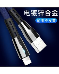 1M 3A Zinc Alloy Flat USB Cable with Light