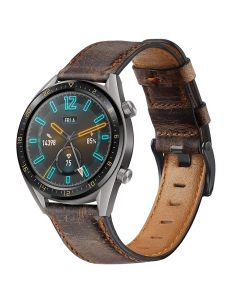 First layer cowhide leather strap for Huawei Watch WATCH GT/GT2/ GT2E, 22mm vintage wax strap