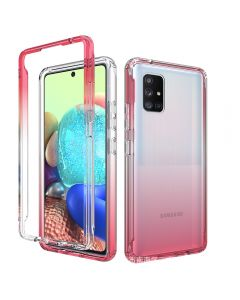 Contrasting color high-transparent phone case, double-layer phone case for Samsung note20+ front and back cover, 2-piece set
