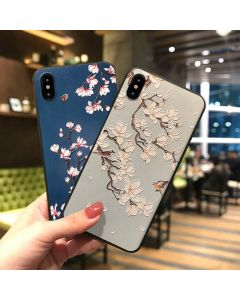 All-inclusive painted embossed flower phone case for iphone Huawei